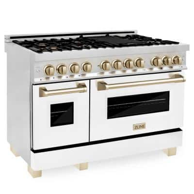 Autograph Edition 48 in. 6.0 cu. ft. Dual Fuel Range in Stainless Steel with White Matte Door and Gold Accents