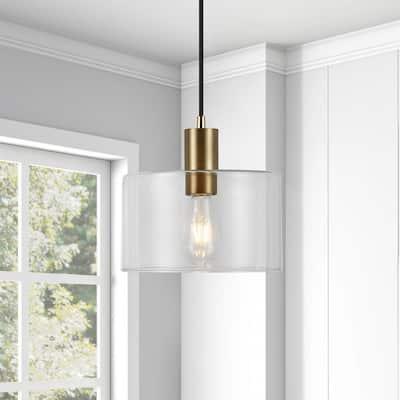 Henri 1-Light Hand-Blown Glass Pendant with Brass Accents