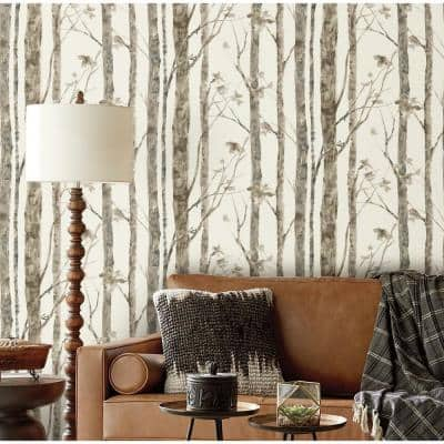 Brown and Taupe Birch Trees Peel and Stick Wallpaper (Covers 28.18 sq. ft.)