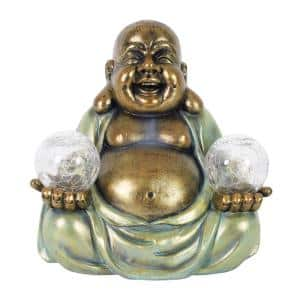 Solar Meditating Buddha with LED Crackle Balls Garden Statue