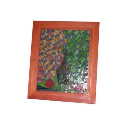 Springdale 10 in. H Peacock Mosaic Art Glass Wall Panel