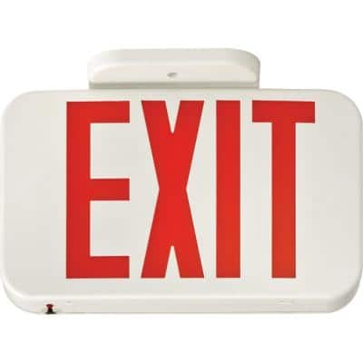 Contractor Select EXR Series 120/277-Volt Integrated LED White and Red Exit Sign W/ Back Up Battery