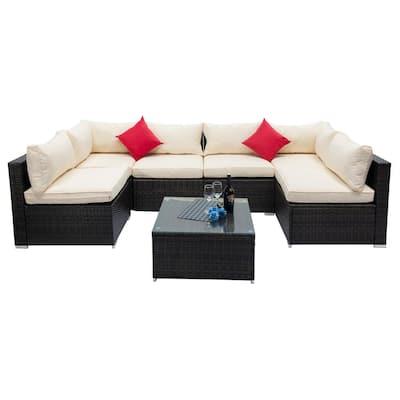 7-Piece PE Wicker Outdoor Patio Conversation Sofa with Beige Foam Cushions