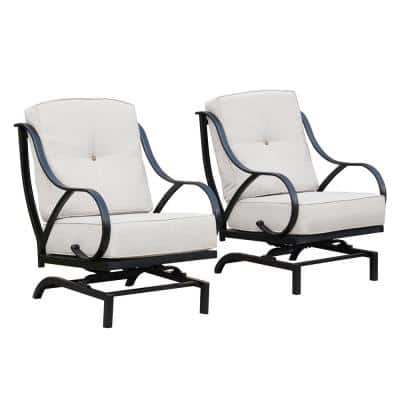 Rocking Metal Outdoor Lounge Chair with Beige Cushion (2-Pack)