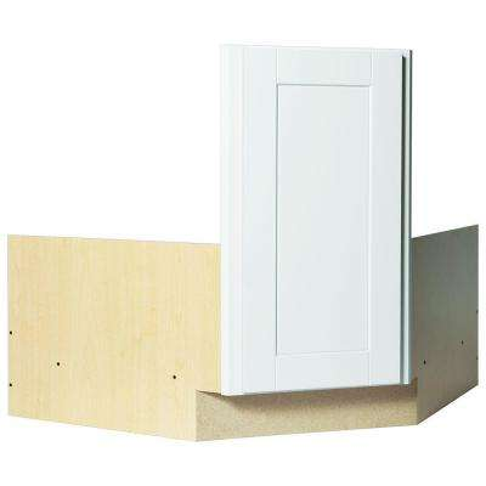 Shaker Partially Assembled 36 x 34.5 x 24 in. Corner Sink Base Kitchen Cabinet in Satin White