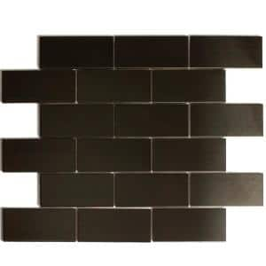Enchanted Metals Bronze Brick Mosaic 2 in. x 4 in. Stainless Steel Wall Tile (1 Sq. ft.)