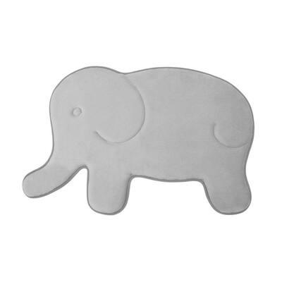 Elephant Gray 20 in. x 32 in. Memory Foam Bath Mat