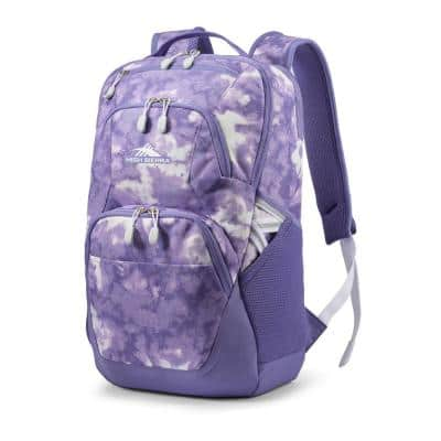 Swoop SG 5.9 in. Backpack with Laptop Drop Protection Pocket in Purple Tie Dye