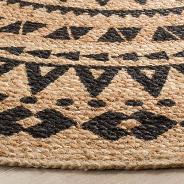 Safavieh Natural Fiber Black Beige 7 Ft X 7 Ft Round Area Rug Nf802k 7r The Home Depot