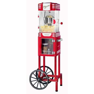 Retro 300 W 2.5 oz. Red Popcorn Cart with Lighted Interior