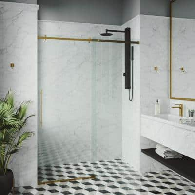 Luca 56 to 60 in. W x 79 in. H Sliding Frameless Shower Door in Matte Gold with Clear Glass