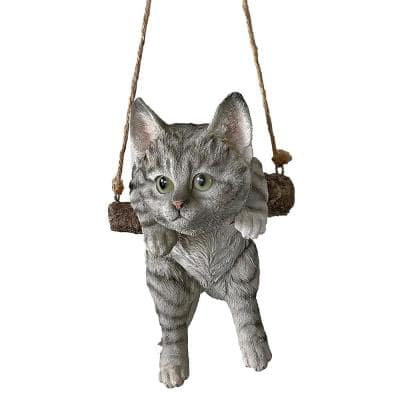 8 in. H Gray Tabby Kitty on a Perch Hanging Cat Sculpture