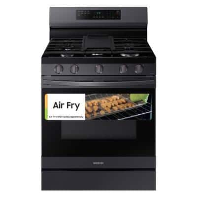 6 cu. ft. Smart Wi-Fi Enabled Convection Gas Range with No Preheat AirFry in Black Stainless Steel