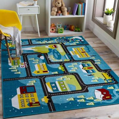 Winter Streets Multi-Colored Blue 7 ft. 10 in. x 10 ft. Area Rug