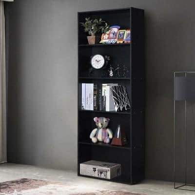 67 in. Black MDF 5-Shelfves Standard Bookcase with Storage