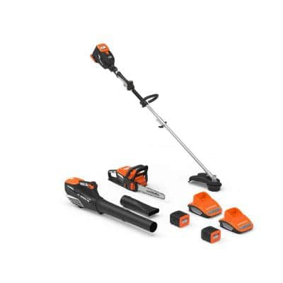 60-Volt Cordless 2.5 Ah Lithium-ion Trimmer, Leaf Blower, Chainsaw, 2 Batteries and 2 Chargers Combo Kit (7-Tool)