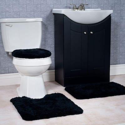 Black 19.5 in. x 24 in. Super Plush Non-Slip 3-Piece Bath Rug Set
