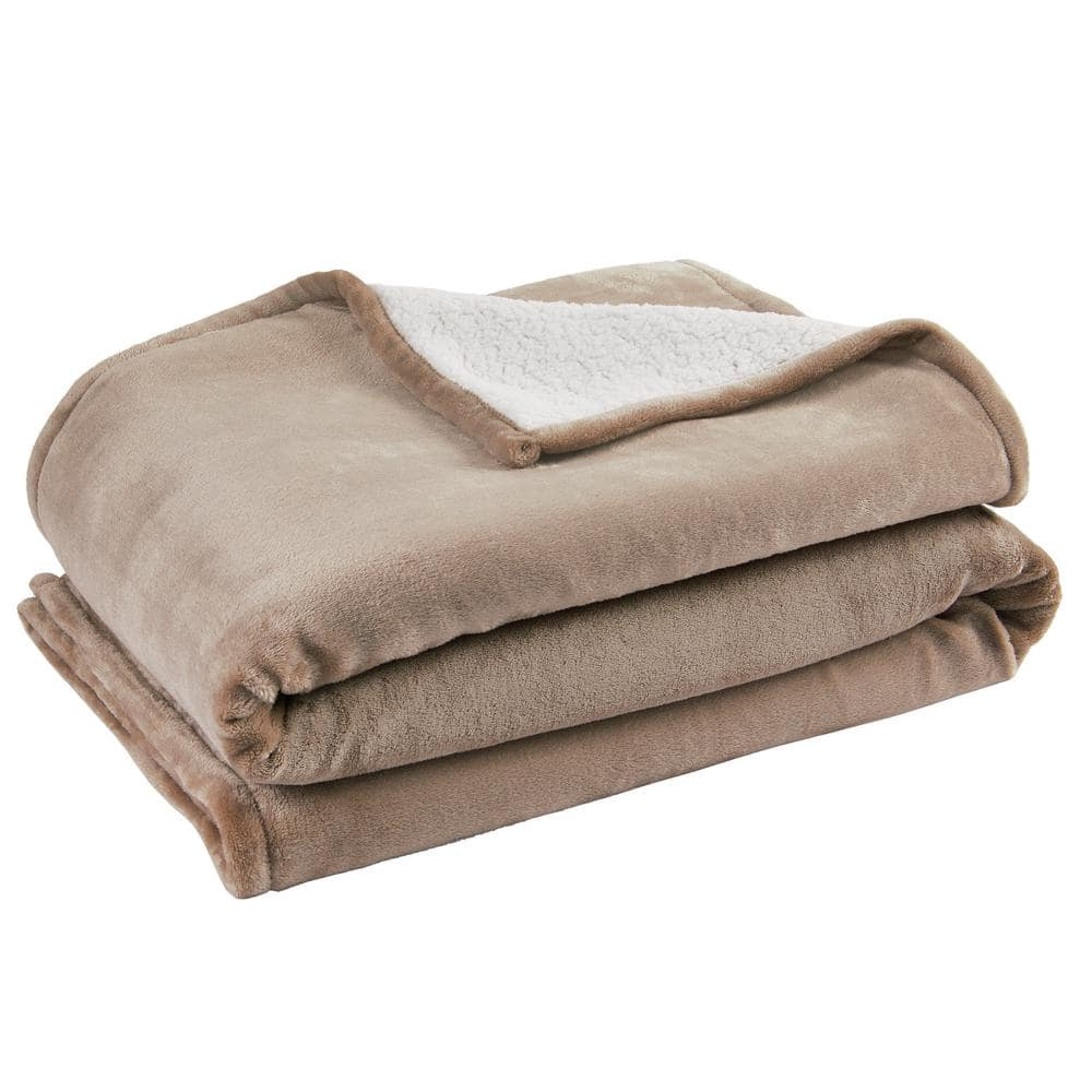 Home Decorators Collection Black Friday Putty Polyester Sherpa Throw Blanket Of 50 In 70 In St50x70k The Home Depot