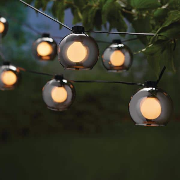 Hampton Bay Outdoor Indoor 10 Ft Plug In G Type Bulb Incandescent String Light With 8 Smoky Glass Shades Str Ba5 The Home Depot