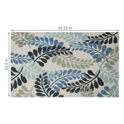 Cool Tone Leaves 23 in. x 35 in. Kitchen Mat