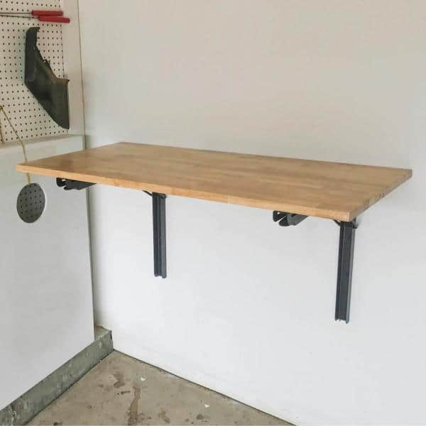 Sportsman 47 In X 23 Wood Wall Mounted Folding Workbench 803303 The Home Depot - How To Make A Wall Mounted Drop Down Table