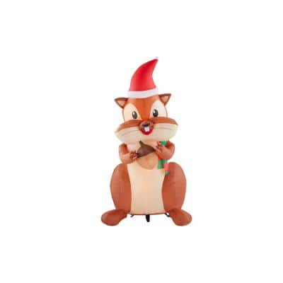 6.5 ft Pre-Lit LED Animated Nom-Nom Chipmunk with Acorn Christmas Inflatable