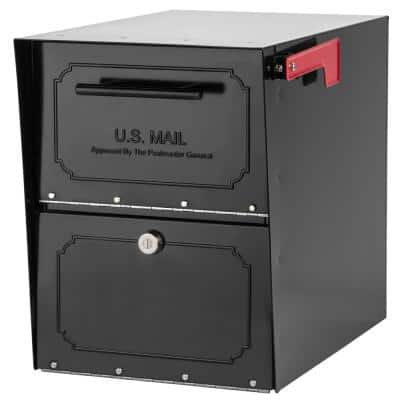 Oasis Classic Locking Post Mount Parcel Mailbox with High Security Reinforced Lock, Black
