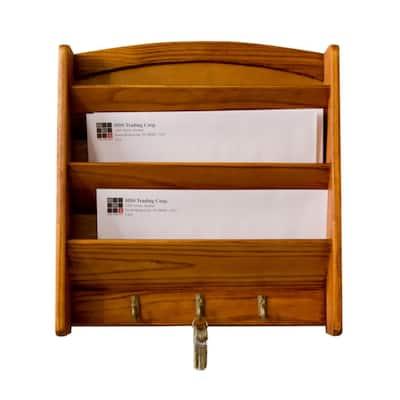 Pine Letter Rack with Key Hooks