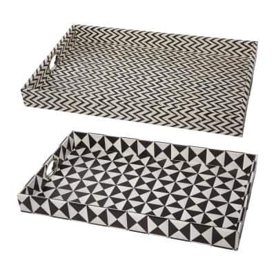 Hanley Geometric Black, White Trays (Set of 2)