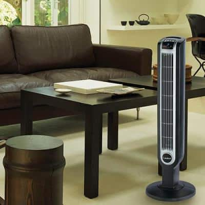 36 in. 3 Speed Black Oscillating Tower Fan with Internal Ionizer, Electronic Timer and Remote Control