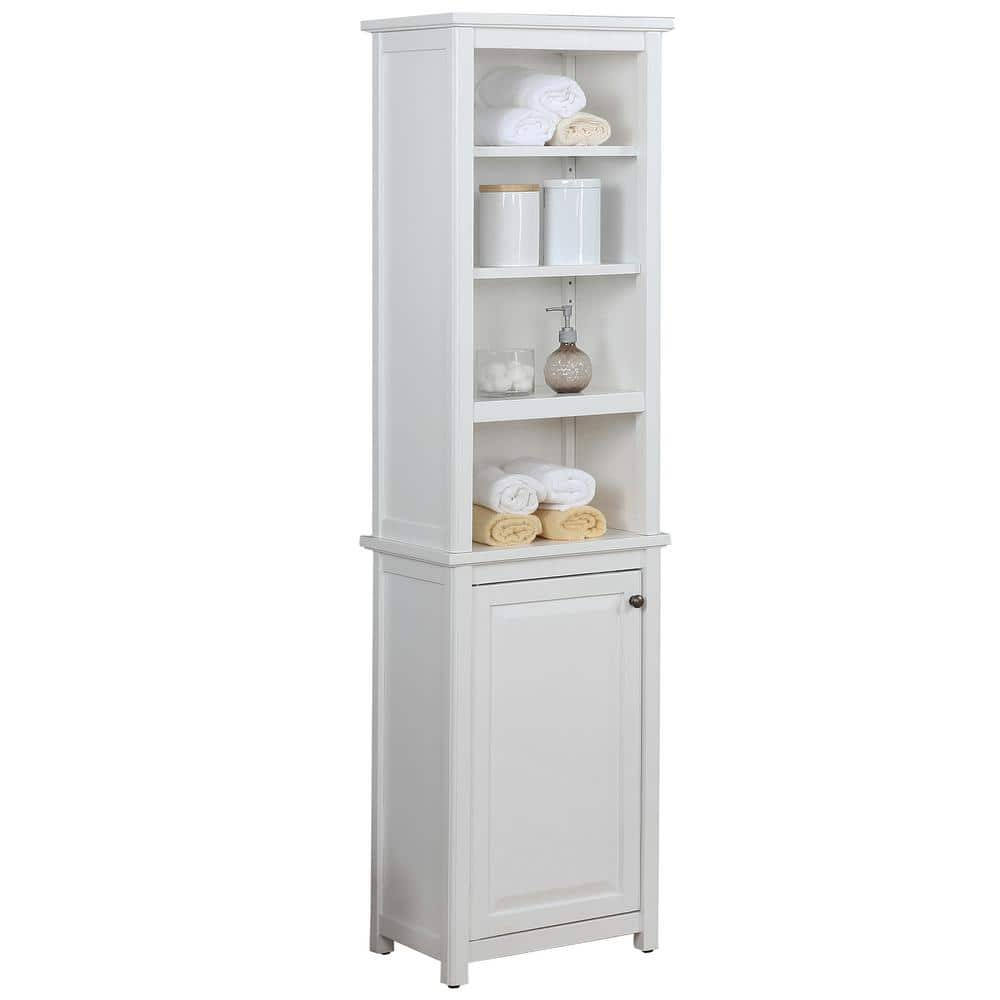 Alaterre Furniture Dorset Bathroom 17 In W Freestanding Storage Tower With Open Upper Shelves And Lower Cabinet In White Anva7778wh The Home Depot