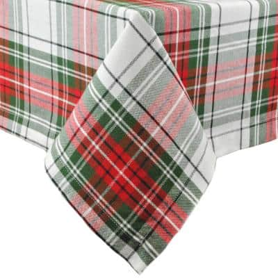 Christmas 60 in. x 104 in. Red and Green Plaid Cotton Tablecloth
