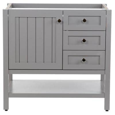 Lanceton 36 in. W x 22 in. D x 34 in. H Bath Vanity Cabinet Only in Sterling Gray