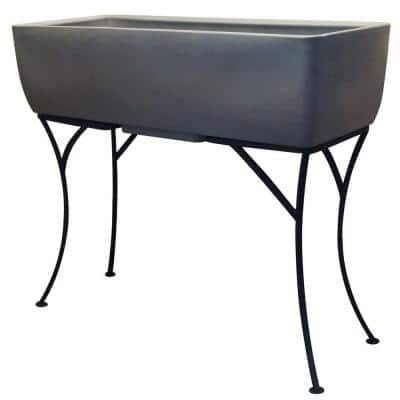 36 in. x 15 in. Graphite Elevated Planter with Stand