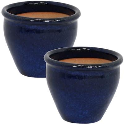 Chalet 9 in. Blue Ceramic Indoor/Outdoor Planter (Set of 2)
