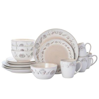 16-Piece Panama Coastal Beige Stoneware Dinnerware Set (Service For 4)