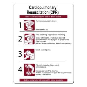 18 in. x 24 in. CPR Instructions Sign Printed on More Durable, Thicker, Longer Lasting Styrene Plastic