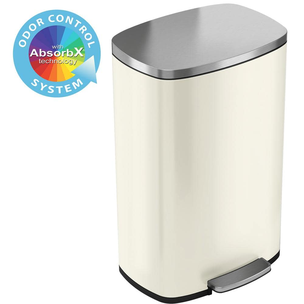 Itouchless Softstep 13 2 Gal Ivory White Stainless Steel Trash Can With Odor Control System And Inner Bucket For Office Kitchen Pc13rsc The Home Depot