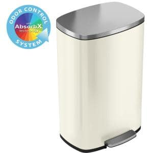 SoftStep 13.2 Gal. Ivory White Stainless Steel Trash Can with Odor Control System and Inner Bucket for Office,Kitchen