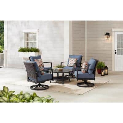 Whitfield Dark Brown 5-Piece Wicker Outdoor Patio Motion Conversation Set with CushionGuard Steel Blue Cushions