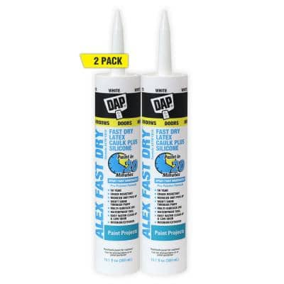 Alex Fast Dry 10.1 oz. White Acrylic Latex Plus Silicone Caulk (2-Pack)