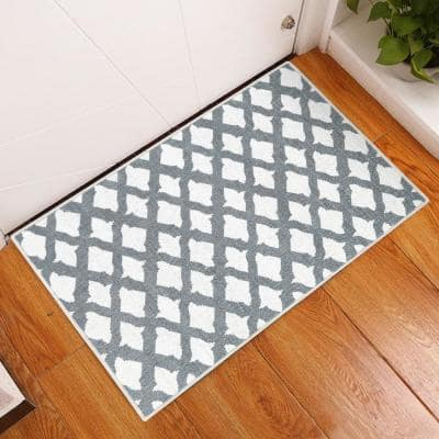 Floral Cotton Gray 2 ft. x 3 ft. Thin Non Slip Indoor Area Rug or Front Door Foyer Rug for Entryway
