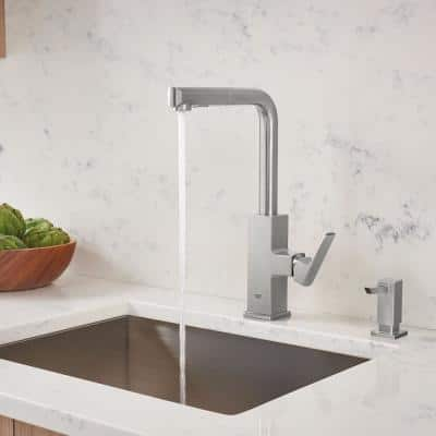 Tallinn Single-Handle Pull-Out Sprayer Kitchen Faucet with Soap Dispenser in SuperSteel InfinityFinish