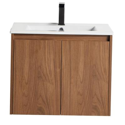 Brown Sandalwood Stylish 24 in. Bathroom Cabinet with Wash Basin without LED Mirror