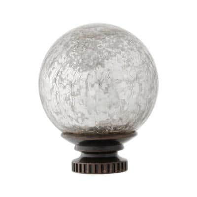 Mix and Match 1 in. Mercury Glass Sphere Curtain Rod Finial Set in Oil Rubbed Bronze (2-Pack)