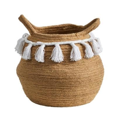 11 in. Natural Boho Chic Handmade Cotton Woven Basket Planter with Tassels