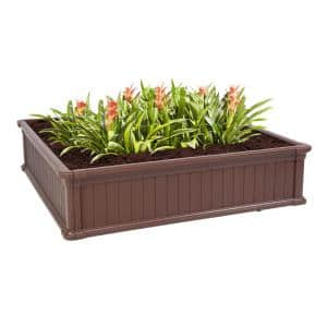48 in. W x 11.8 in. H Brow Plastic Square Raised Garden Bed