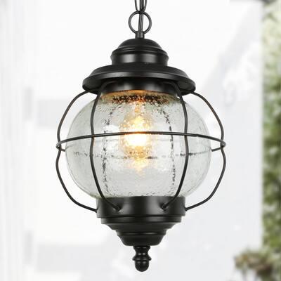 Farmhouse Coastal Pendant 1-Light Black Foyer Hall Chandelier Pendant Light with Seeded Glass Shade
