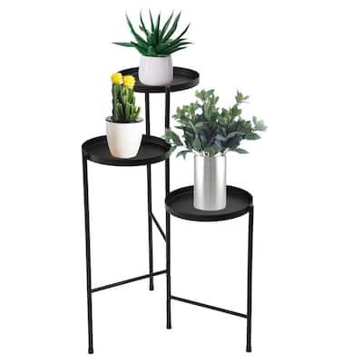 30 in. Metal Corner Plant Stand in Black Indoor/Outdoor (3-Tier)