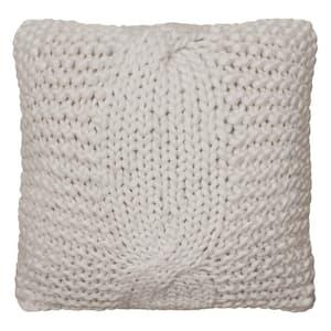 Luisa Contemporary Ivory 20 in. x 20 in. Plush Velvet Decorative Throw Pillow